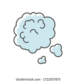 Dust in air blue RGB color icon. Environment contamination, ecology pollution, urban smog. Weather forecast, health hazard. Dusty cloud isolated vector illustration