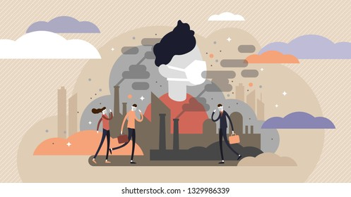 Dust in air vector illustration. Flat tiny dirty smog air persons concept. Clean breathing equipment for urban city pollution. Chemical steam cloud from factory effect. Outdoor allergy environment