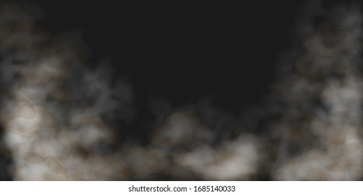 Dust cloud, heavy thick dust  3d realistic vector background. City smog, polluted and dirty air with dust or dirt particles. Sand storm, beige powder explosion, desert wind concept. Realistic vector