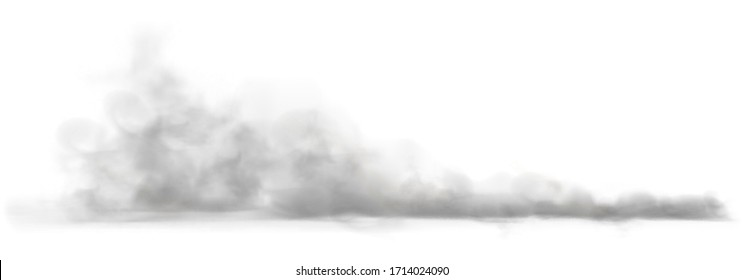 Dust cloud on a dusty road from a car. Scattering trail on track from fast movement. Transparent realistic vector stock illustration