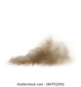 Dust Cloud On Road From Vehicle Or Bike Vector. Scattered Cloudy Dust Motocross Track. Brown Crumbly Ground Smoke Effect, Explosive Sandy Powder Ornament Template Realistic 3d Illustration
