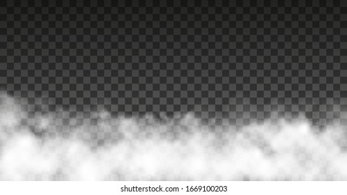Dust cloud with particles with dirt,cigarette smoke, smog, soil and sand  particles. Realistic vector isolated on transparent background. Concept house cleaning, air pollution,big explosion,desert .