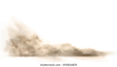 Dust cloud with particles with dirt,cigarette smoke, smog, soil and sand particles. Realistic vector isolated on white background.