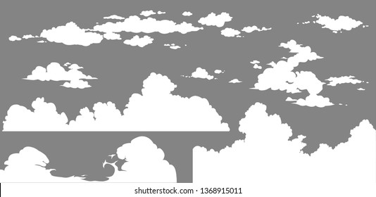Dust clouds set. Cartoon white smoke vector Illustration. Flat comic smoke isolated clipart for design, effects and advertising posters, video. Steam explosion or blast of bomb in motion