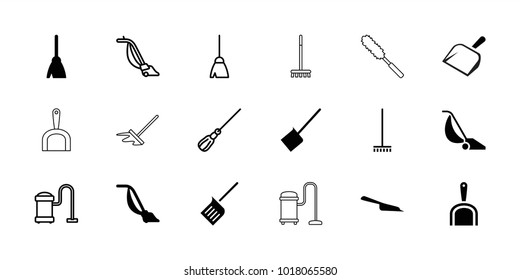Dust icons. set of 18 editable filled and outline dust icons: broom, dustpan, vacuum cleaner, mop