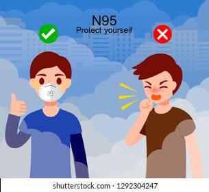 Dust mask n95,man wears industrial mask, vector illustration.