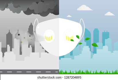 Dust mask prevent air pollution in large cities concept,vector illustration.