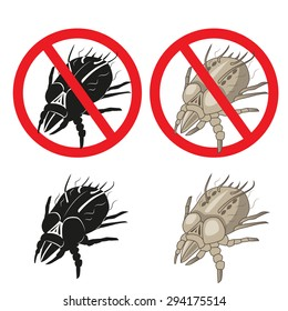 Dust Mites Parasite Warning Sign. Close up of a House Mite Vector Set. Dust Mites Allergy Hives.