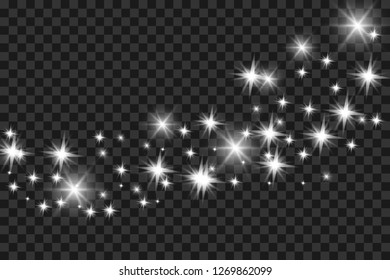 Dust on a transparent background.bright stars.The glow lighting effect. vector illustration.magic