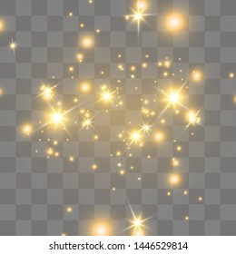 The dust sparks and golden stars shine with special light. Sparkling magical dust particles. Vector sparkles on a transparent background. Christmas light effect.