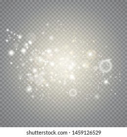 Dust sparks and golden stars shine with special light. White sparks glitter  light effect. Sparkling magic dust particles Vector