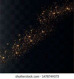 The dust sparks and golden stars shine with special light. Sparkling magical dust particles. Vector sparkles on a transparent background.