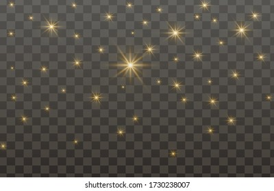 The dust sparks and golden stars shine with special light. Vector sparkles on a transparent background. Sparkling magical dust particles.