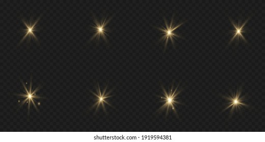 The dust sparks and golden stars shine with special light. Vector sparkles on a transparent background. Christmas light effect. Sparkling magical dust particles interior stock vector