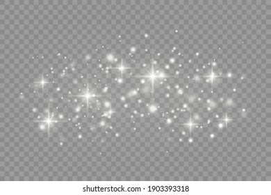 Dust white. White sparks and golden stars shine with special light. Vector sparkles on a transparent background. Christmas abstract pattern.