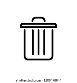 Dustbin icon. Container recycling of garbage sign isolated. Flat icon bin on gray background. Flat image Trash can. Layers grouped for easy editing illustration. EPS 10, Premium
