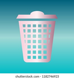 Dustbin icon. Vector. Pink bronze gradient icon at turquoise gradient background.
