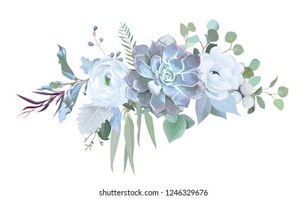 Dusty blue echeveria succulent, white ranunculus, anemone, eucalyptus, silver greenery vector design bouquet. Wedding seasonal flowers.Floral border composition.All elements are isolated and editable