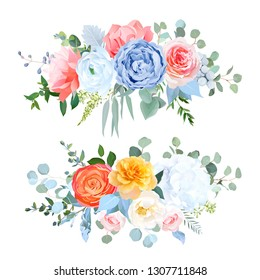 Dusty blue, orange, yellow, coral flowers vector wedding bouquets. Rose, carnation,ranunculus,hydrangea,brunia. Eucalyptus, greenery.Bohemian chic style border.All elements are isolated and editable