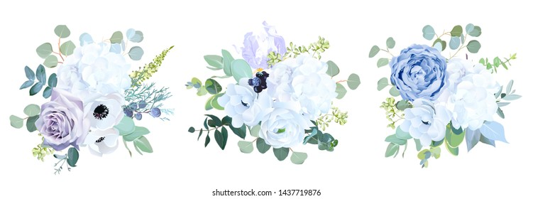 Dusty blue, pale purple rose, white hydrangea, ranunculus, iris,anemone flower,greenery and eucalyptus,berry,juniper vector design wedding bouquets.Trendy pastel color collection.Isolated and editable