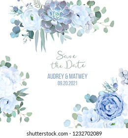 Dusty blue rose, echeveria succulent, white hydrangea, ranunculus, anemone, eucalyptus, juniper, brunia vector design frame.Wedding seasonal flower card.Floral border composition.Isolated and editable