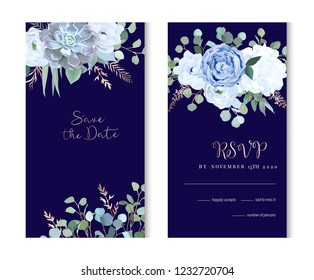 Dusty blue rose, echeveria succulent, hydrangea, ranunculus, anemone, eucalyptus, juniper, brunia vector design navy frames. Wedding flower card.Floral border, rose pink branch. Isolated and editable