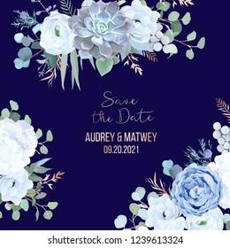 Dusty blue rose, echeveria succulent, hydrangea, ranunculus, anemone, eucalyptus, juniper, brunia vector design navy frame. Wedding flower card.Floral border, rose pink branch. Isolated and editable