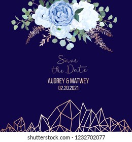 Dusty blue rose, white hydrangea, ranunculus, anemone, eucalyptus, juniper, brunia vector design navy frame. Wedding flower polygonal card. Pink gold geometry line crystal art. Isolated and editable