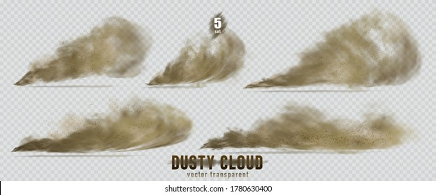 Dusty cloud or broun dry sand flying with a gust of wind, sandstorm, explosion realistic texture with small particles or grains of sand illustration 5 set isolated on transparent background. Vector