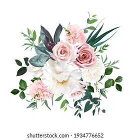 Dusty pink and cream rose, peony, hydrangea flower, tropical leaves vector design wedding bouquet. Eucalyptus, greenery.Floral pastel watercolor style.Spring bouquet.Elements are isolated and editable