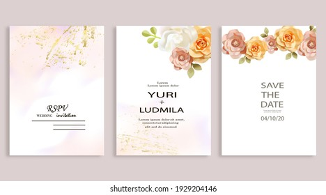 Dusty pink and ivory beige rose, pale hydrangea, fern, dahlia, ranunculus, fall leaf bunch of flowers invitation card.