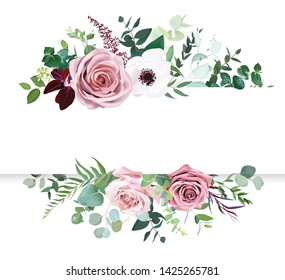 Dusty pink rose, pale flowers, white anemone horizontal botanical vector design banner. Eucalyptus, emerald and burgundy greenery card. Floral pastel watercolor border frame. Isolated and editable