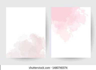 Dusty pink and taupe watercolor vector splash cards.Simple minimalist backgrounds,hand-drawn watercolor texture. Painted delicate spot.Elegant frame.Brown,beige trendy color brush art drawing on white
