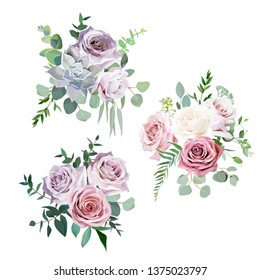 Dusty pink,creamy white and mauve antique rose, pale flowers vector design wedding bouquets.Eucalyptus, succulent, greenery.Floral pastel watercolor style border.All elements are isolated and editable