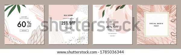 Dusty rose abstract square art templates with floral and geometric elements. Suitable for social media posts, mobile apps, banners design and web/internet ads. Vector fashion backgrounds.