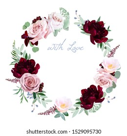Dusty rose, burgundy red peony, camellia, greenery vector design round invitation frame. Pink, blue, green tones. Watercolor wedding card. Autumn rustic style. All elements are isolated and editable