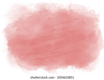 Dusty rose horizontal watercolor backdrop with transparent edges. Vector.