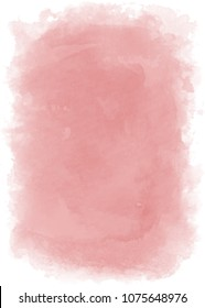 Dusty rose vertical watercolor backdrop with transparent edges. Vector.