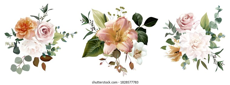 Dusty yellow, blush pink and white rose, lily, pale tulip, fall garden flowers, eucalyptus, greenery vector design. Wedding autumn dried floral bouquet collection. Elements are isolated and editable