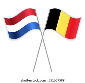 Dutch and Belgian crossed flags. Netherlands combined with Belgium isolated on white. Language learning, international business or travel concept.