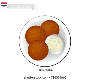 Dutch Cuisine, Bitterballen or Traditional Meatballs Made of Minced Beef or Veal, Butter, Flour, Parsley, Salt and Pepper Served with Mustard Sauce. One of The Most Famous Dish in Netherlands.