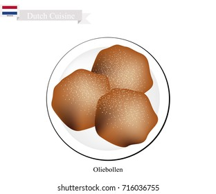 Dutch Cuisine, Oliebollen or Traditional Dutch Doughnuts Topped with Icing. One of The Most Popular Dessert of Netherlands.