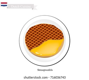 Dutch Cuisine, Stroopwafels or Traditional Crispy Waffle Filled with Caramel. One of Tha Most Popular Dessert of Netherlands.