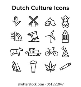 Dutch Culture Icons, Culture Signs of Holland, Traditions of Netherlands, Dutch Life, National Objects of Holland, Colored Line Icons, Colored Stroke Icons, Dutch Culture Line Color Icons