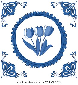 Dutch Delft blue tile with tulips. EPS 10. No transparency. No gradients.