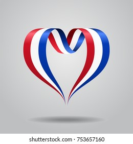 Dutch flag heart-shaped wavy ribbon. Vector illustration.