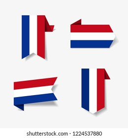 Dutch flag stickers and labels set. Vector illustration.