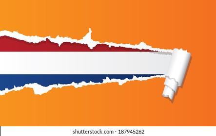 Dutch flag under ripped paper vector illustration.