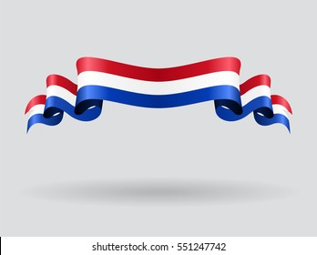 Dutch flag wavy abstract background. Vector illustration.