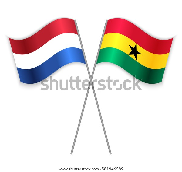 Dutch and Ghanaian crossed flags. Netherlands combined with Ghana isolated on white. Language learning, international business or travel concept.